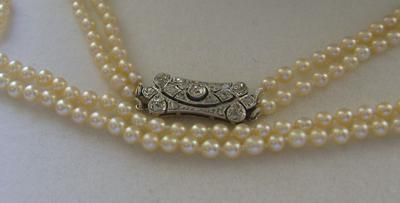 Vintage Art Deco Natural Saltwater Pearl Necklace, 18K