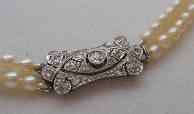 Vintage Art Deco Natural Saltwater Pearl Necklace, 18K