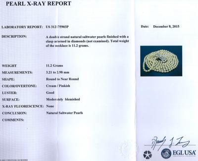 Certificate - Vintage Art Deco Natural Saltwater Pearl Necklace, 18K