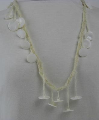 Muscatine White Button Necklace on Handspun Wool