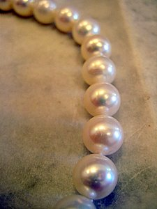 White Freshwater Cultured Pearls Closeup