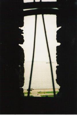 Window on Caspian Sea from Maiden Tower Baku Azerbaijan