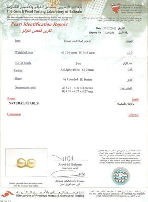 Natural Pearl Certificate