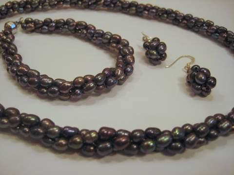2 Strand Pearl Necklace Bracelet Earring Set