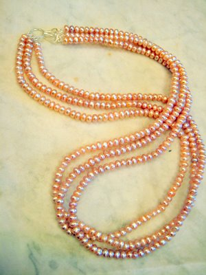 3 Strand Lavender Seed Pearl Necklace