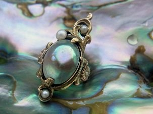 antique art nouveau abalone blister ring