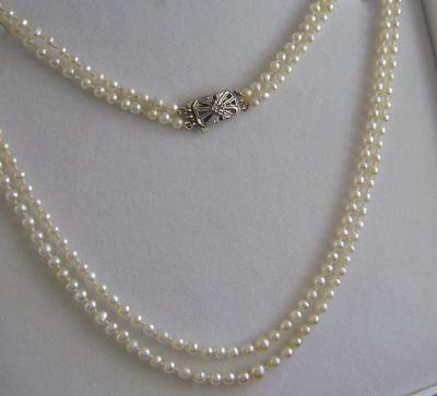Antique Edwardian Double Strand Natural Pearl Necklace, 9K Gold Diamond Clasp