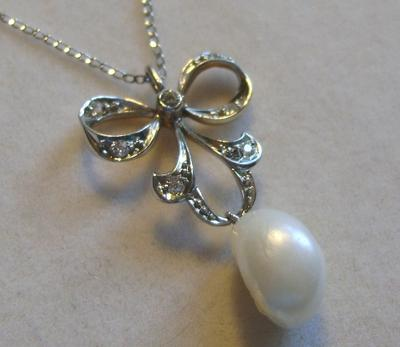 Antique Edwardian Natural Freshwater Pearl & Diamond Pendant
