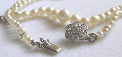 Antique Natural Pearl Necklace, 18K Diamond Flower Clasp