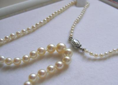 Antique Natural Pearl Necklace, Marquise Diamond Platinum Clasp