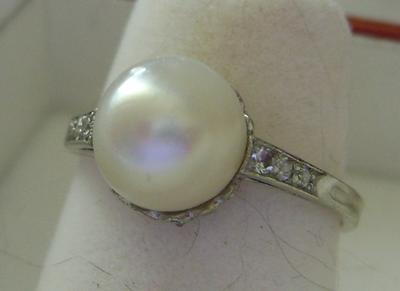 Antique Natural Pearl Platinum & Diamond Ring