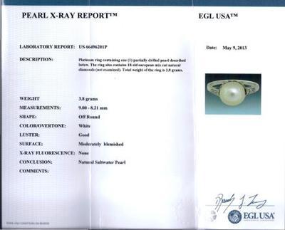 Cert - Antique Natural Pearl Platinum & Diamond Ring