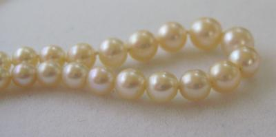 Antique Natural Saltwater Pearl Necklace, 18K Gold Diamond Clasp
