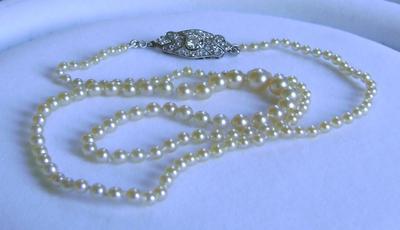 Antique Natural Saltwater Pearl Necklace, Large Platinum Diamond Clasp