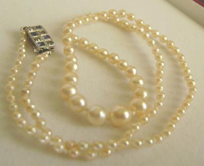 Antique Natural Saltwater Pearl Necklace Platinum Diamond
