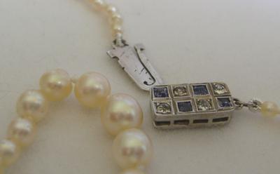 Antique Natural Saltwater Pearl Necklace, Platinum Diamond Sapphire Clasp