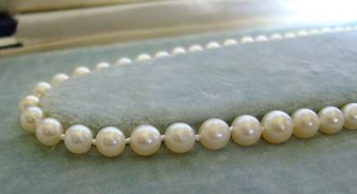 Antique Necklace--White, Round Natural Pearls!  44 carats