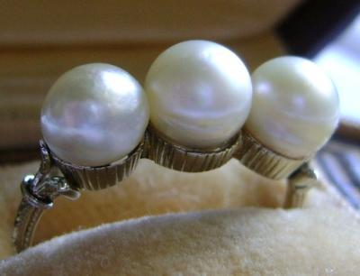 Antique Triple Natural Saltwater Pearl Ring
