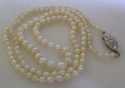 Antique White Natural Saltwater Pearl Necklace, Platinum Clasp