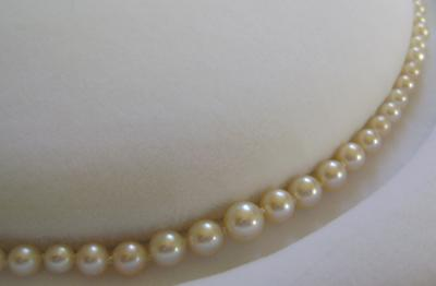 Antique White Natural Saltwater Pearl Necklace, Platinum Diamond Clasp