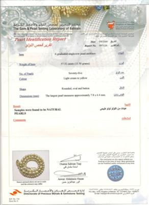 Certificate for natural Basra Pearl necklace