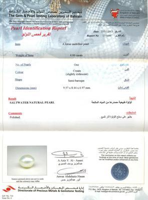 Basra Natural Pearl 4 carats Certificate