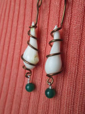 Clam Pearl Earrings on Copper with Green Stones