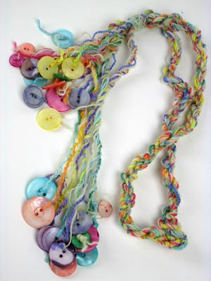 Colorful Muscatine Button Necklace on Wool