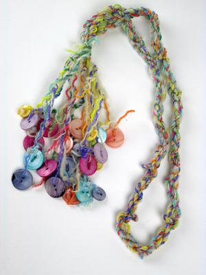 Colorful Muscatine Pearl Button Necklace on Wool