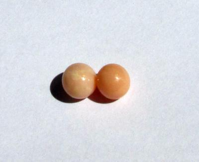 Conch Pearl Pair Peach Colored Round Shape 3+ Carats Total