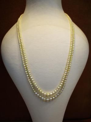 Double Line Natural Pearls Necklace 61 carats