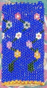 Flowers on Blue Beading