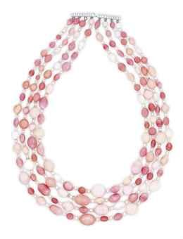 4 Strand Conch Pearl & Diamond Necklace <BR><I>Photo: Christie's</I>