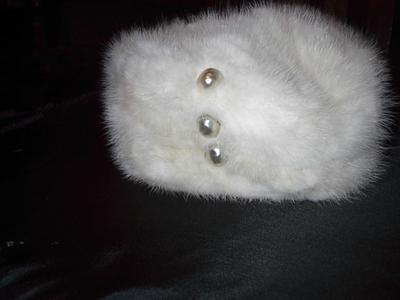 Grandma's  Fur Hat with Pearls