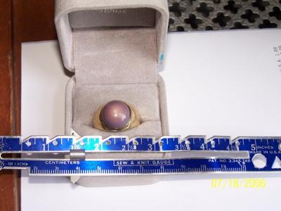 Half Inch Purple Quahog Pearl in Ring
