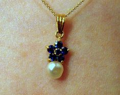 Natural Bahrain Pearl with Sapphires