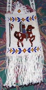 Indian on Horse Beaded Purse Closeup