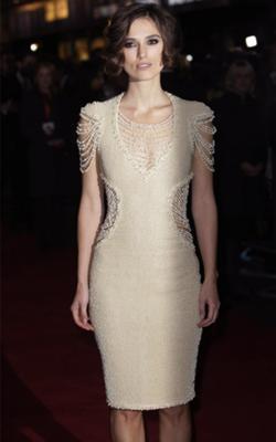 Keira Knightley in Chanel Pearl Dress (Photo: fashionising.com)