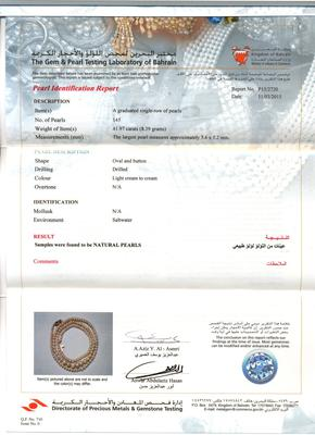 Lovely Strand of Natural Basra Pearls - Certificate