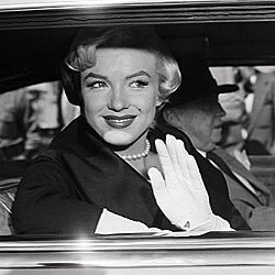 © Bettmann/Corbis<BR> Marilyn Monroe arriving at the courthouse in her pearly best