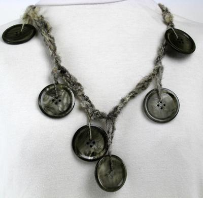 Muscatine Button Necklace in Black on Hand Spun Iowa Wool