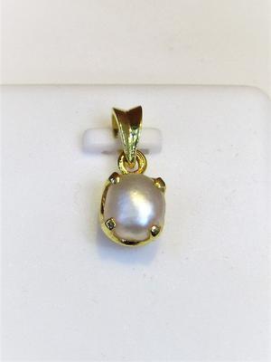 Natural 1.17 carat Basra Pearl Pendant on 18k Gold