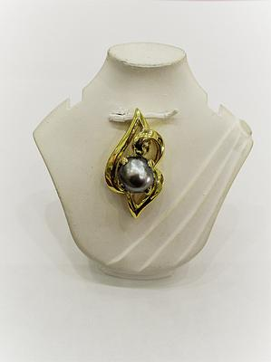 Natural 2.02 carat Basra Pearl Silver Colored 7mm on 18k Gold