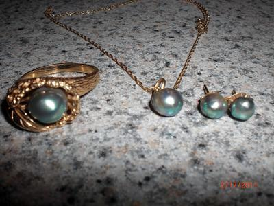 Natural abalone pearl jewelry set