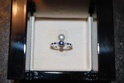 Natural Pearl with Sapphires Ring