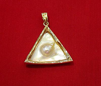Natural Basra Blister Pearl Shell Triangle Shaped Pendant