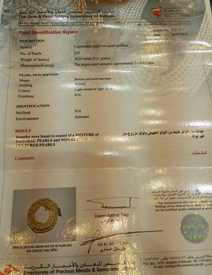 Certificate - Natural Basra Graduated Pearls Necklace