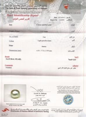 Natural Basra Pearl at 2.37 Carats - Certificate