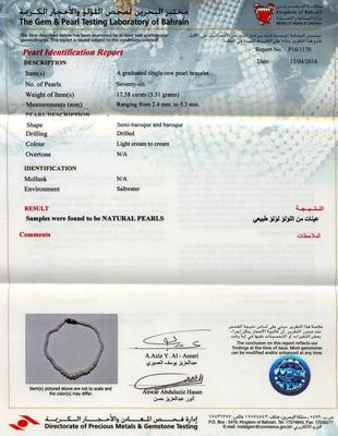 Certificate Natural Basra Pearl Bracelet -17.58 carats Persian Gulf Pearls