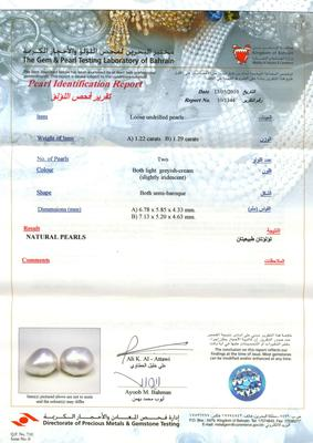 Natural Basra Pearl Earrings Certificate